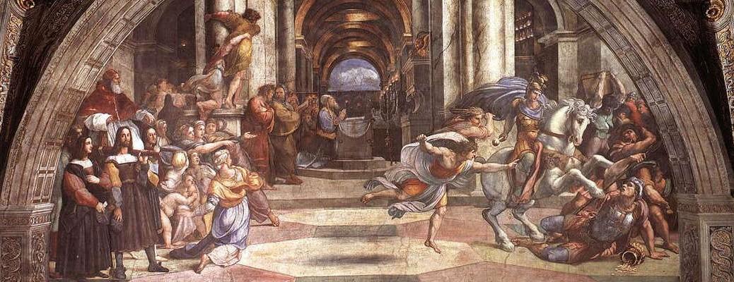 Heliodore chassé du Temple (Raphaël, 1512, Palais pontifical du Vatican, Wikimedia Commons©)
